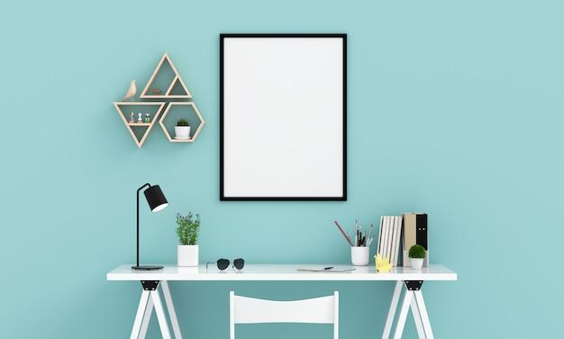 Marco de fotos vacío para maqueta en la pared