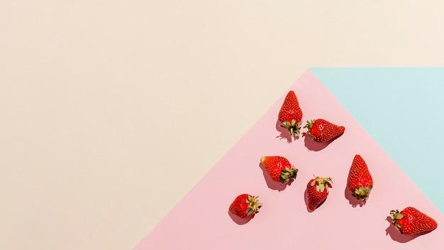 Marco de fresas vista superior
