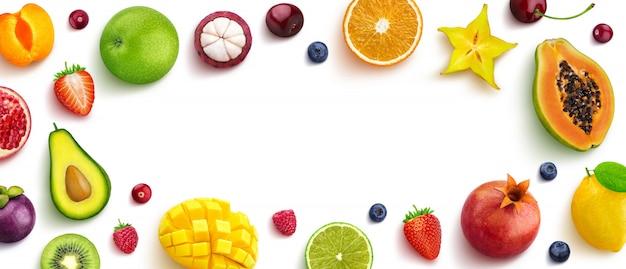 Marco de frutas con espacio vacío para texto.