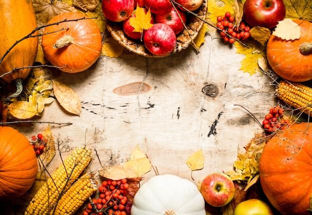 Marco de frutas y verduras de otoño