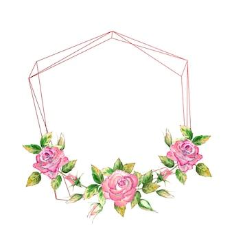 El marco geométrico está decorado con flores de acuarela, rosas rosadas, hojas verdes, flores abiertas y cerradas.