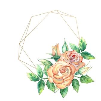 Marco geométrico dorado decorado con flores. rosas melocotón, hojas verdes, flores abiertas y cerradas. ilustración de acuarela.