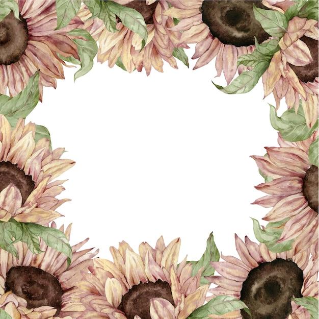 Marco de girasol. diseño de tarjeta de acuarela flores amarillas y marrones. ilustración dibujada a mano. marco de girasol.