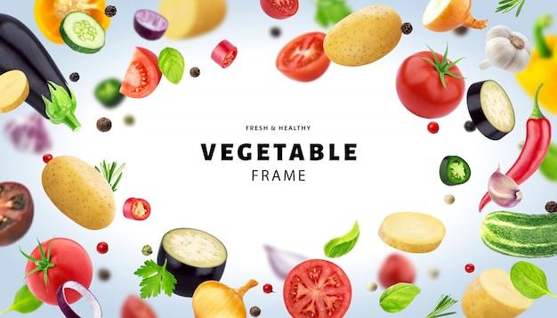 Marco hecho de diferentes verduras voladoras, hierbas y especias, con espacio de copia