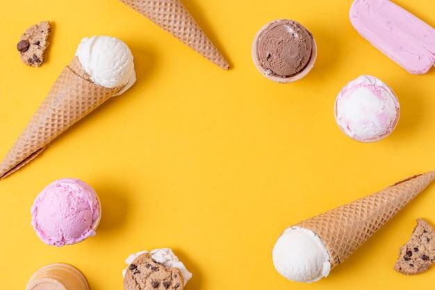Marco de helado con espacio de copia