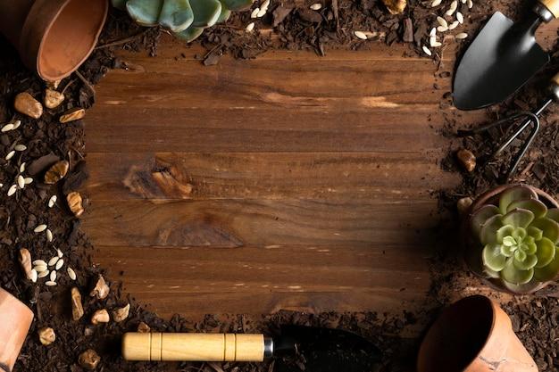Marco de herramientas de jardinería