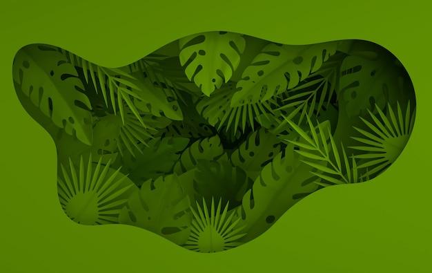 Marco de hojas de palmera de papel tropical