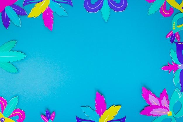 Marco de hojas de papel para carnaval
