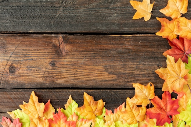 Marco de hojas sobre fondo de madera