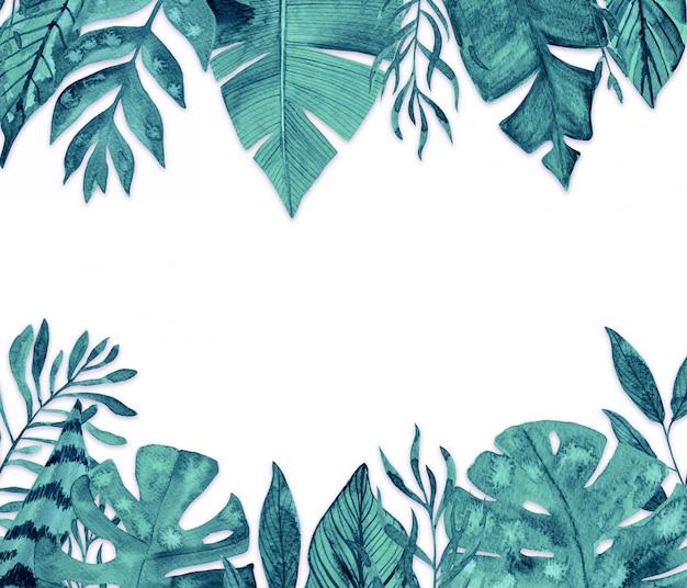 Marco de hojas tropicales acuarela sobre fondo blanco.