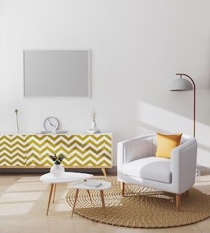 Marco horizontal en blanco en el elegante interior de la sala de estar escandinava del moderno apartamento con sillón blanco y almohada amarilla, mesa de centro y gabinetes, maqueta de sala de estar, representación 3d