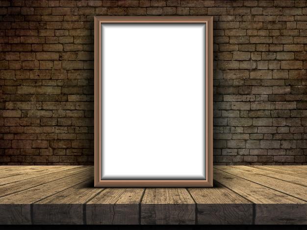 Marco de imagen 3d apoyado en una mesa contra una pared de ladrillo