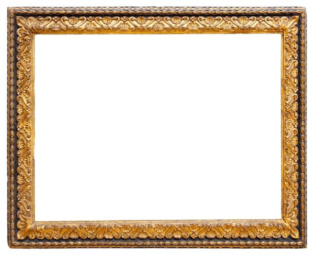 Marco de imagen de oro aislado sobre un fondo blanco.