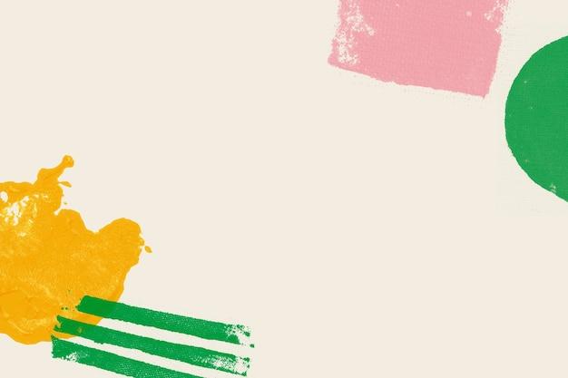 Marco de impresión de bloques de colores sobre fondo beige