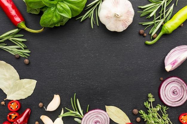 Marco de ingredientes para cocinar