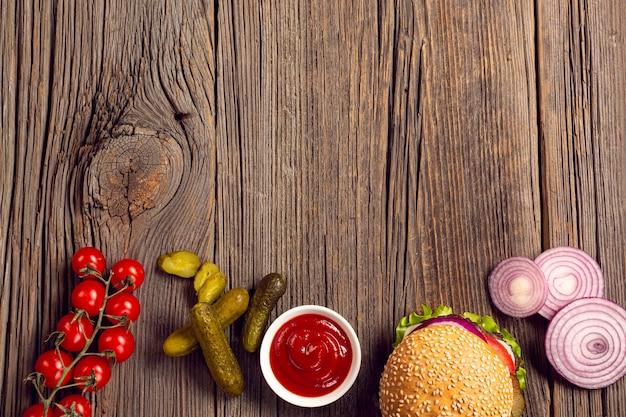 Marco de ingredientes de hamburguesa plana