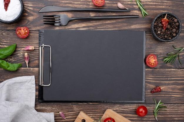 Marco de ingredientes saludables para cocinar