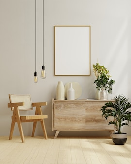 Marco en el interior de la sala de estar, estilo escandinavo, renderizado 3d