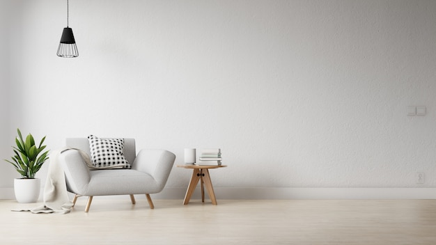 Marco interior salón con colorido sofá blanco