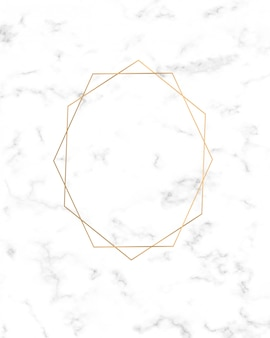 Marco de líneas geométricas doradas sobre textura de mármol