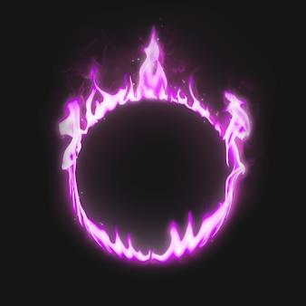 Marco de llama, forma de círculo de neón rosa, fuego ardiente realista