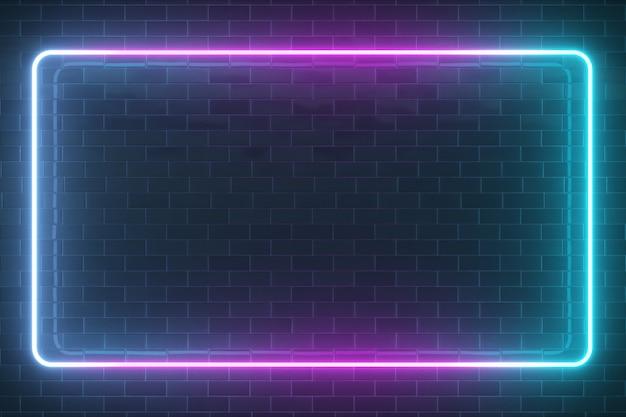 Marco luminoso rectangular de neón brillante