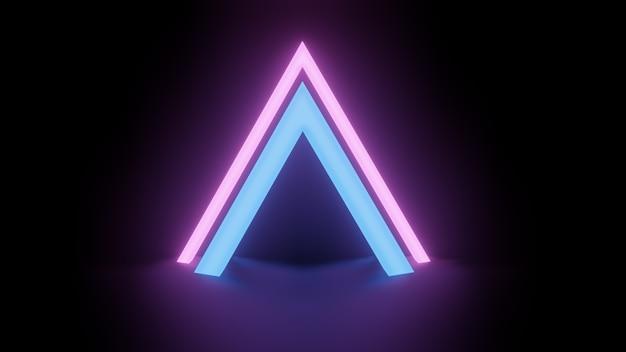 Marco de luz de neón triangular sobre fondo de noche oscura