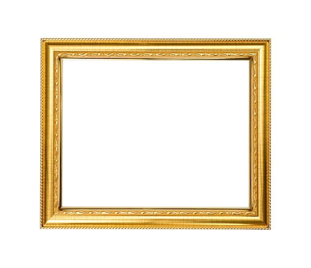 Marco de madera dorada sobre fondo blanco.
