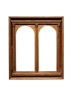 Marco de madera dorado vintage aislado sobre fondo blanco.