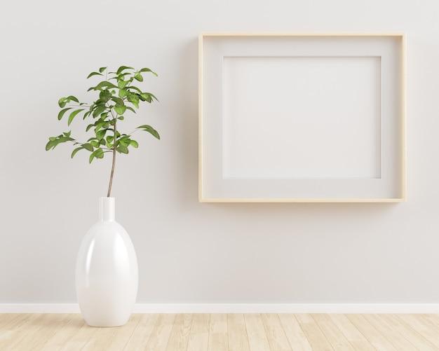 Marco de madera horizontal simulacro de representación 3d