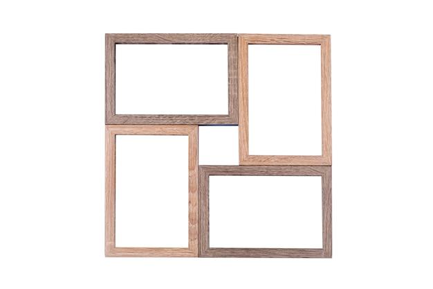 Marco de madera marrón 4 fotos aislado sobre un fondo blanco.