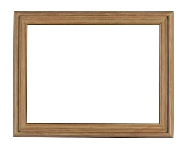 Marco de madera simple bajo las luces aislado sobre un fondo blanco.