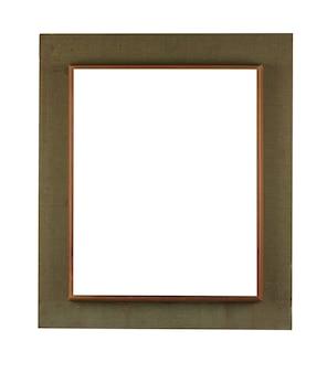 Marco de madera sobre una textura cuadrada marrón aislado sobre un fondo blanco.