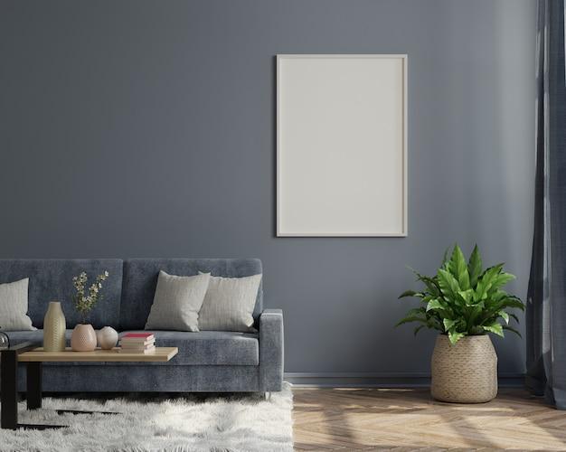 Marco de madera vacío vertical de pie sobre un piso de madera con sofá, representación 3d
