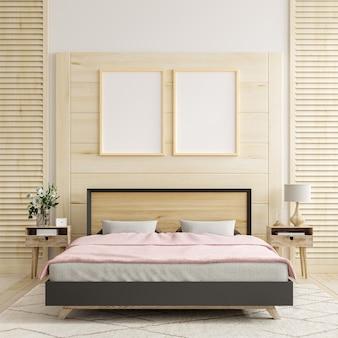 Marco de maqueta en el fondo interior del dormitorio, renderizado 3d