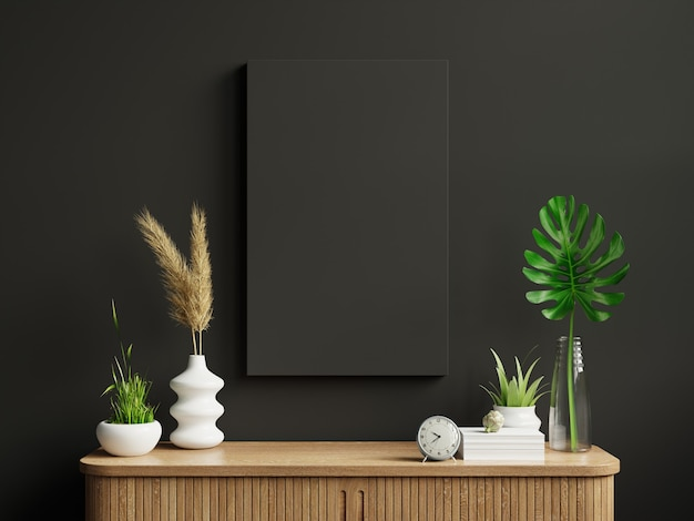 Marco de maqueta en el gabinete en el interior de la sala de estar en el fondo de la pared oscura vacía representación 3d Foto Premium