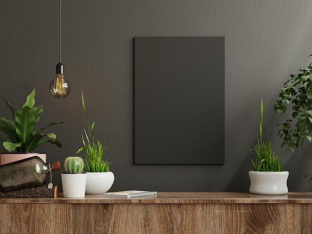 Marco de maqueta en el gabinete en el interior de la sala de estar sobre fondo de pared oscura vacía, renderizado 3d