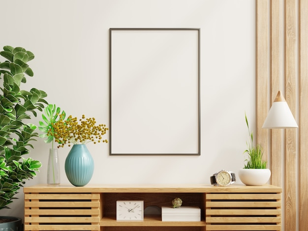 Marco de maqueta en el interior de una sala de estar de estilo escandinavo, renderizado 3d