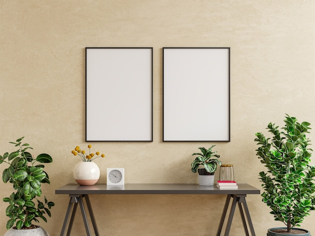 Marco de maqueta en la mesa de trabajo en el interior de la sala de estar sobre fondo de pared de color crema vacío, representación 3d