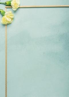 Marco minimalista con flores de clavel sobre fondo azul.