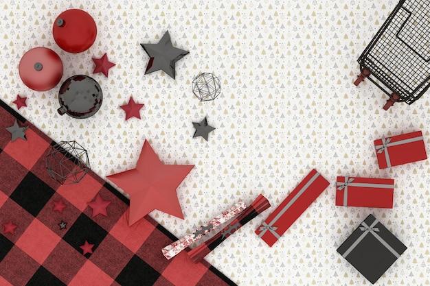 Marco de navidad. decoración de navidad roja, roja y negra y carro sobre fondo de patrón de árbol blanco