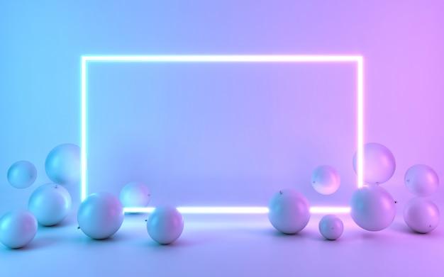 Marco de neón con globo. representación 3d