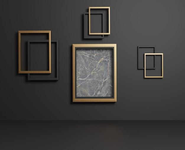 Marco de oro minimalista 3d con decoración de mármol.