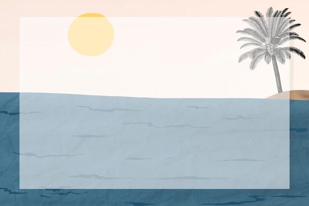 Marco de paisaje marino de técnica mixta, remezclado de obras de arte de george barbier