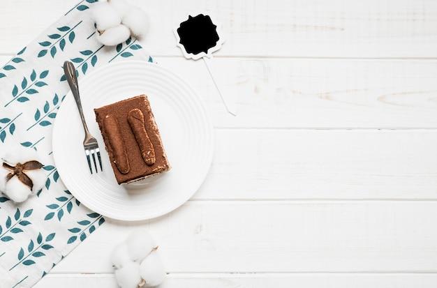 Marco de pastel de café vista superior