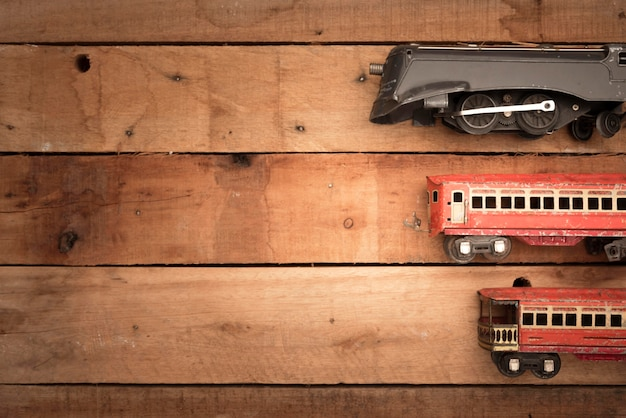 Marco de pequeños trenes de vista superior con espacio de copia Foto gratis