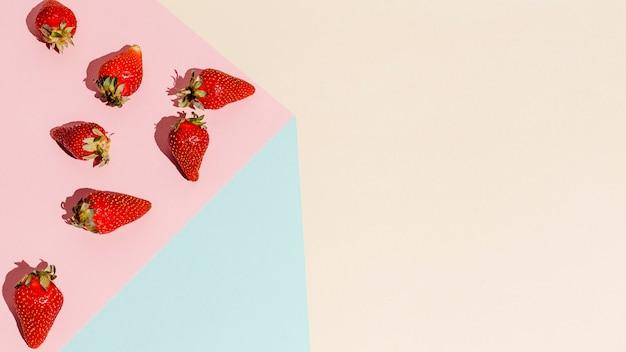 Marco plano de fresas