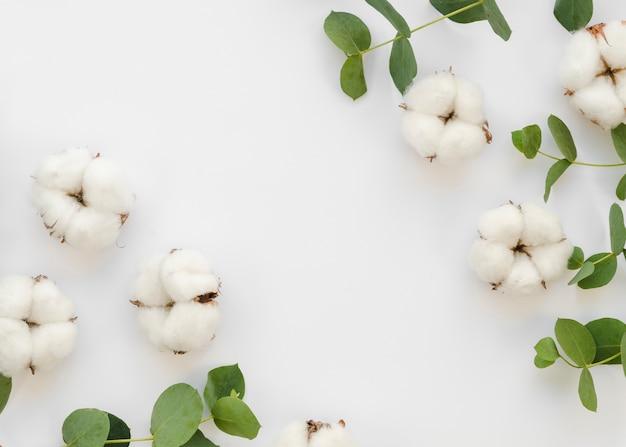 Marco plano laico con flores y hojas de algodón
