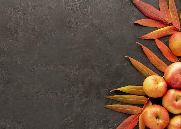 Marco plano laico con hojas y manzanas