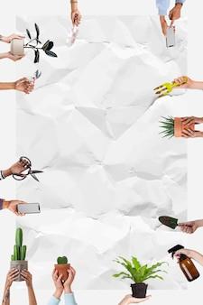 Marco de plantas de interior en macetas con espacio en blanco de textura de papel arrugado